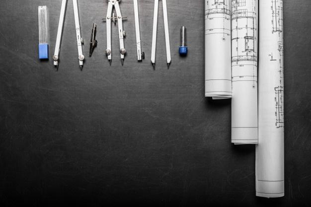 disegni-di-pianificazione-edilizia-su-fondo-nero_93675-15850